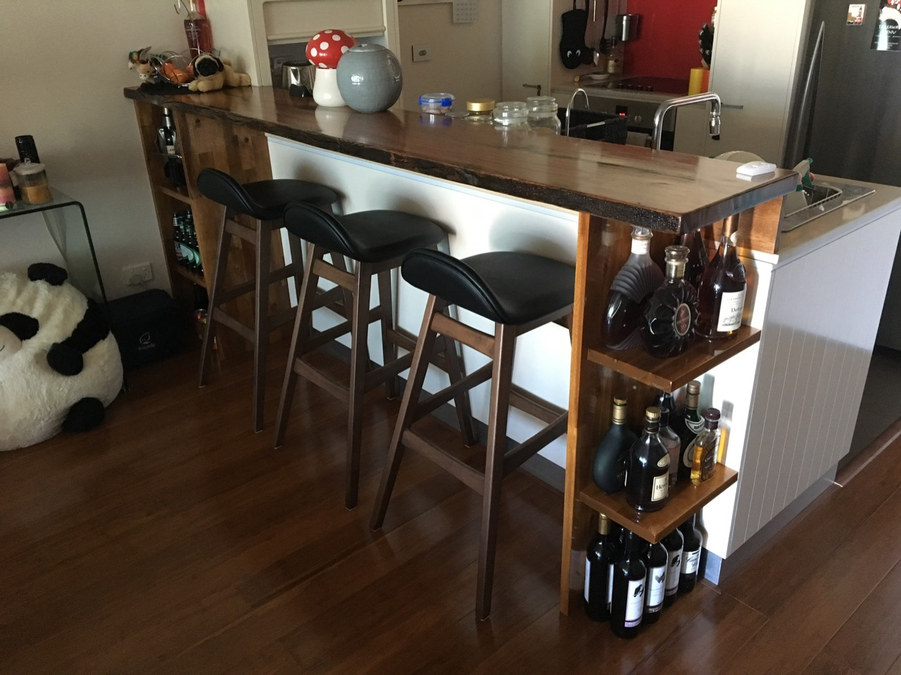 Upcycled Bridge Timber Breakfast Bar Construction And