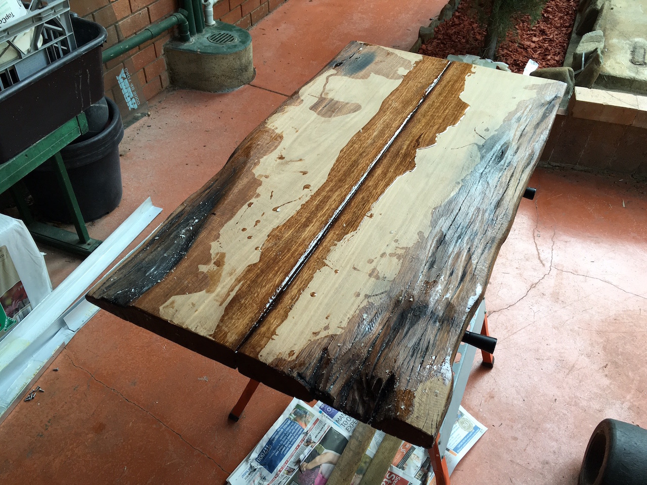 At this point I decided my original plan wasn t going to work and that I ll  have to work with the features the wood had instead of trying to fill them  in. DIY Hardwood Coffee Table made out of recycled wood  part 3