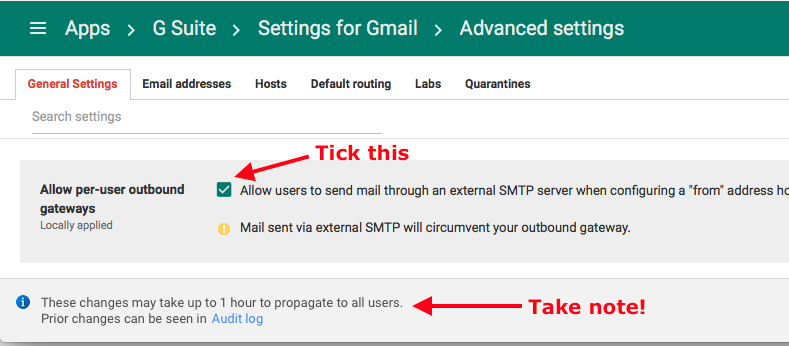 Fix G Suite SMTP error when adding another owned email