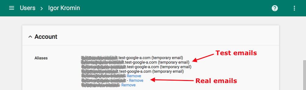 Removing temporary email addresses from Google G Suite user admin