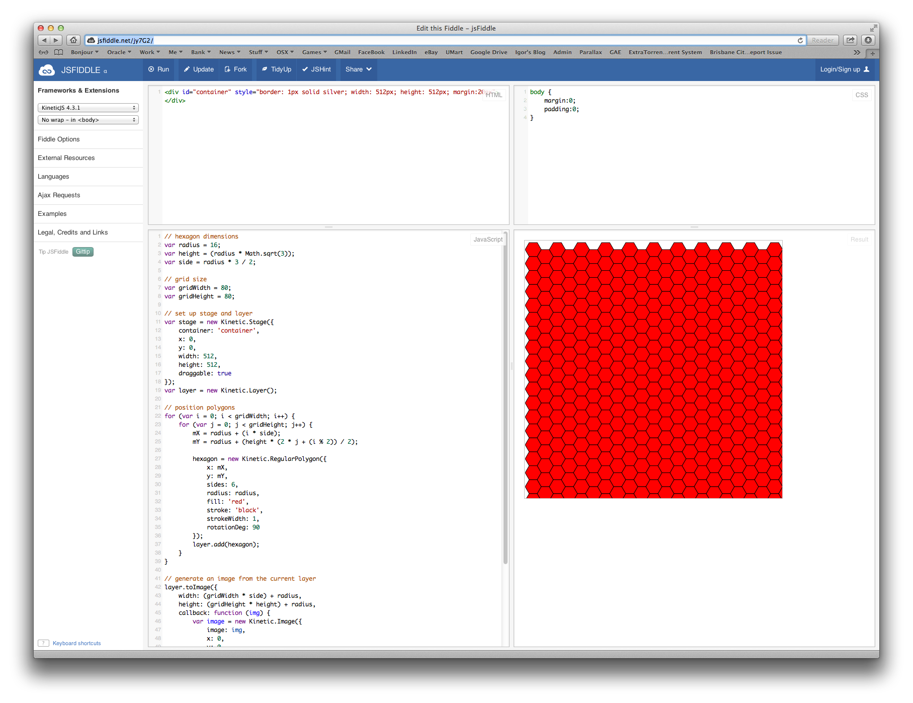 Creating large high performing hexagonal grids for HTML5
