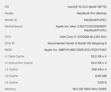 Performance - 2012 Retina MacBook Pro vs 2017 MacBook Pro