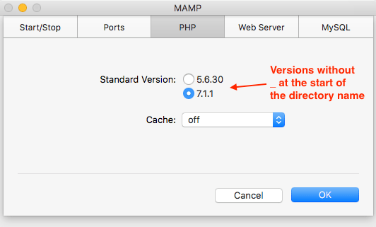How to add/change PHP versions appearing in MAMP preferences | Igor