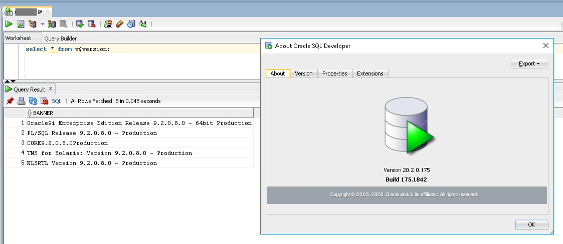 SQLDeveloper 20 throws ArrayIndexOutOfBoundsException connecting to Oracle  9i DB | Igor Kromin