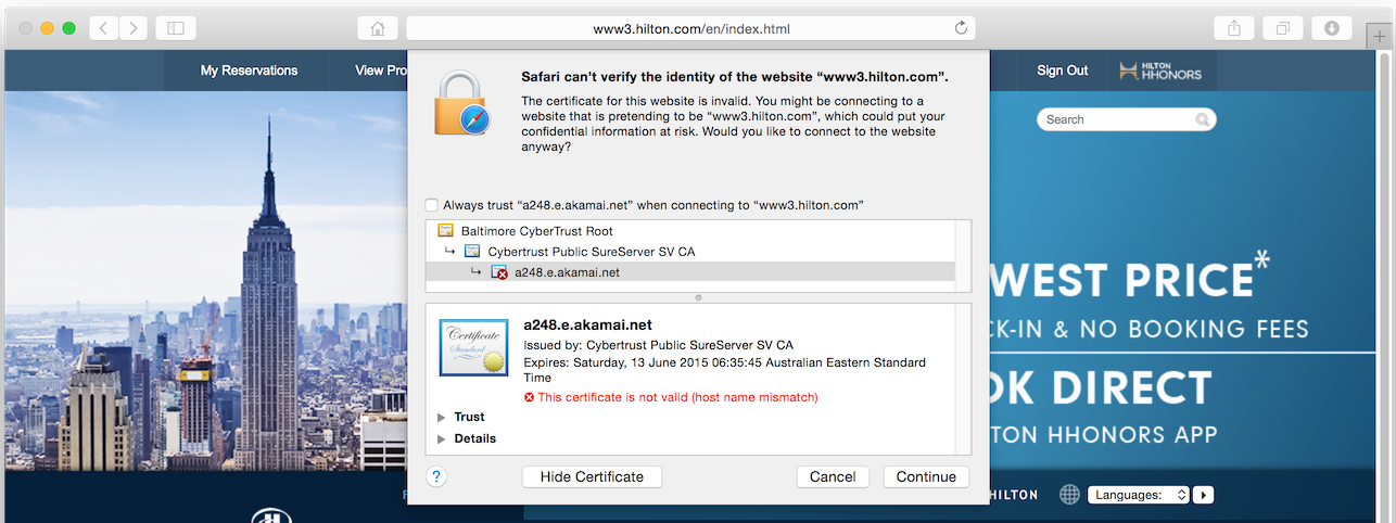 Hiltons Website Is Using The Wrong Ssl Certificate For Days Now